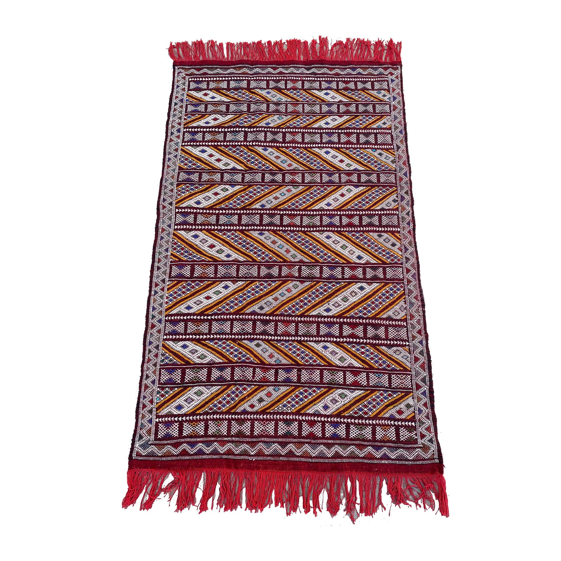 Red and gold flatwoven Moroccan kilim rug - Kantara | Moroccan Rugs