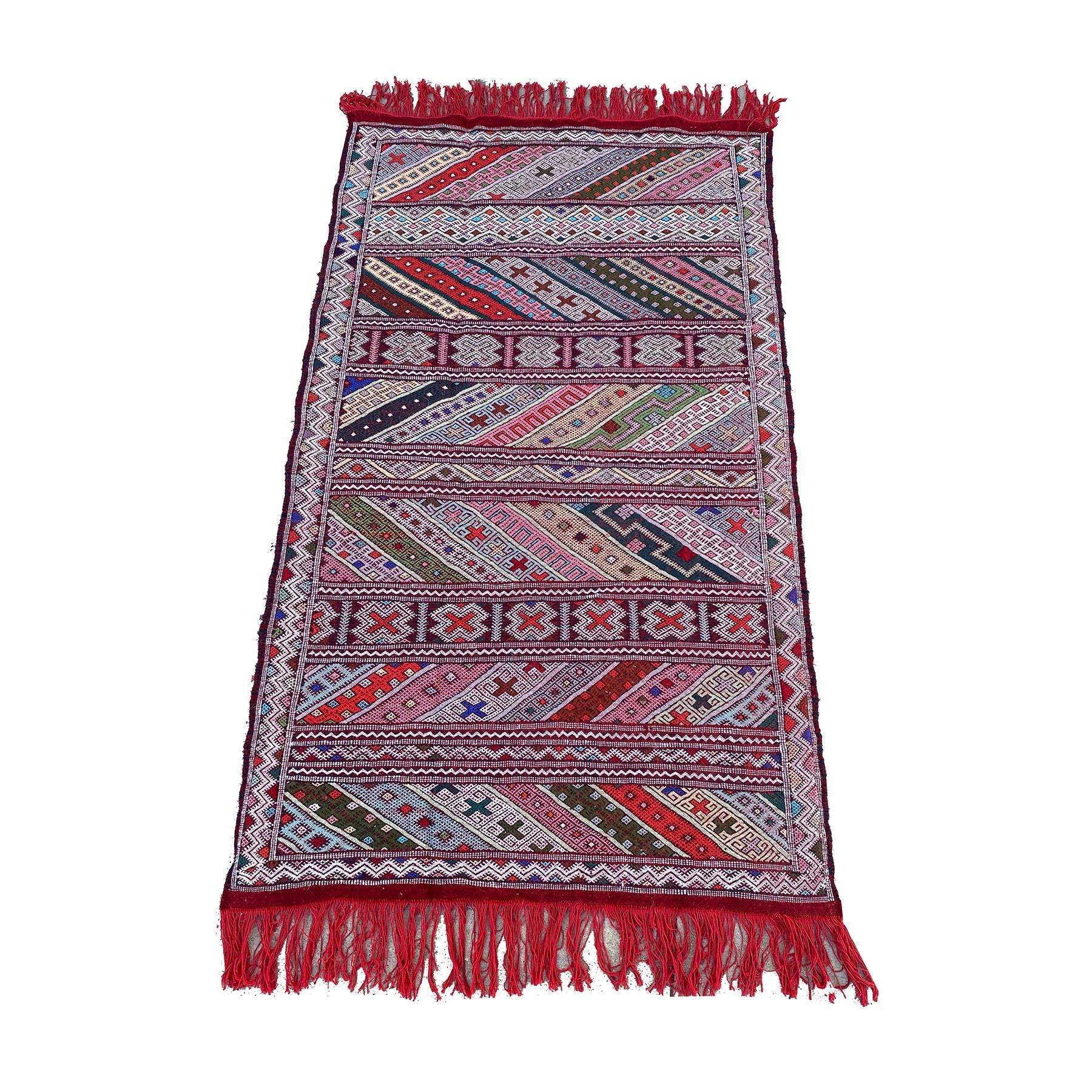 Red and pink flatwoven Moroccan kilim playroom rug - Kantara | Moroccan Rugs