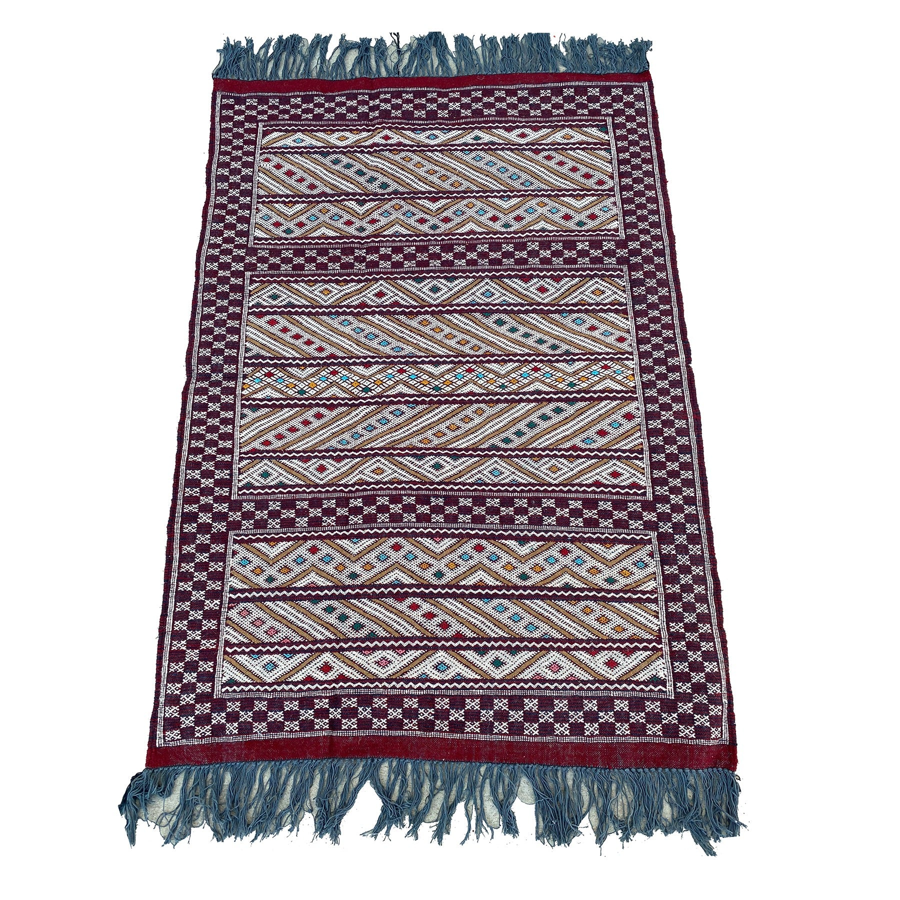 Maroon Moroccan flatweave kilim with colorful details - Kantara | Moroccan Rugs