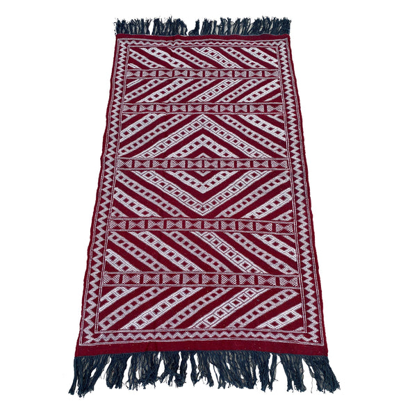 Red and white Moroccan kilim rug with blue tassels - Kantara | Moroccan Rugs