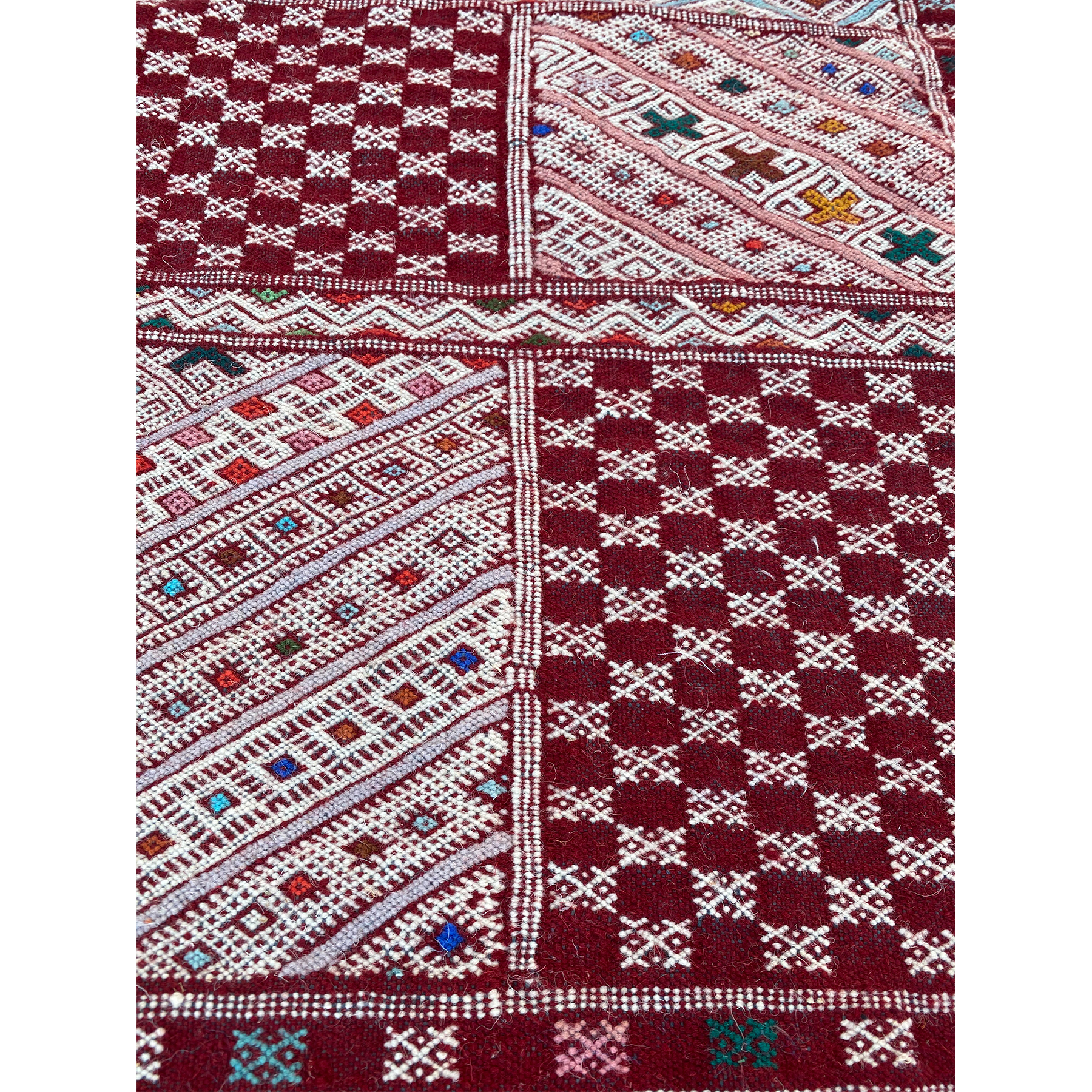 Red Moroccan flatweave kilim with geometric pattern design - Kantara | Moroccan Rugs