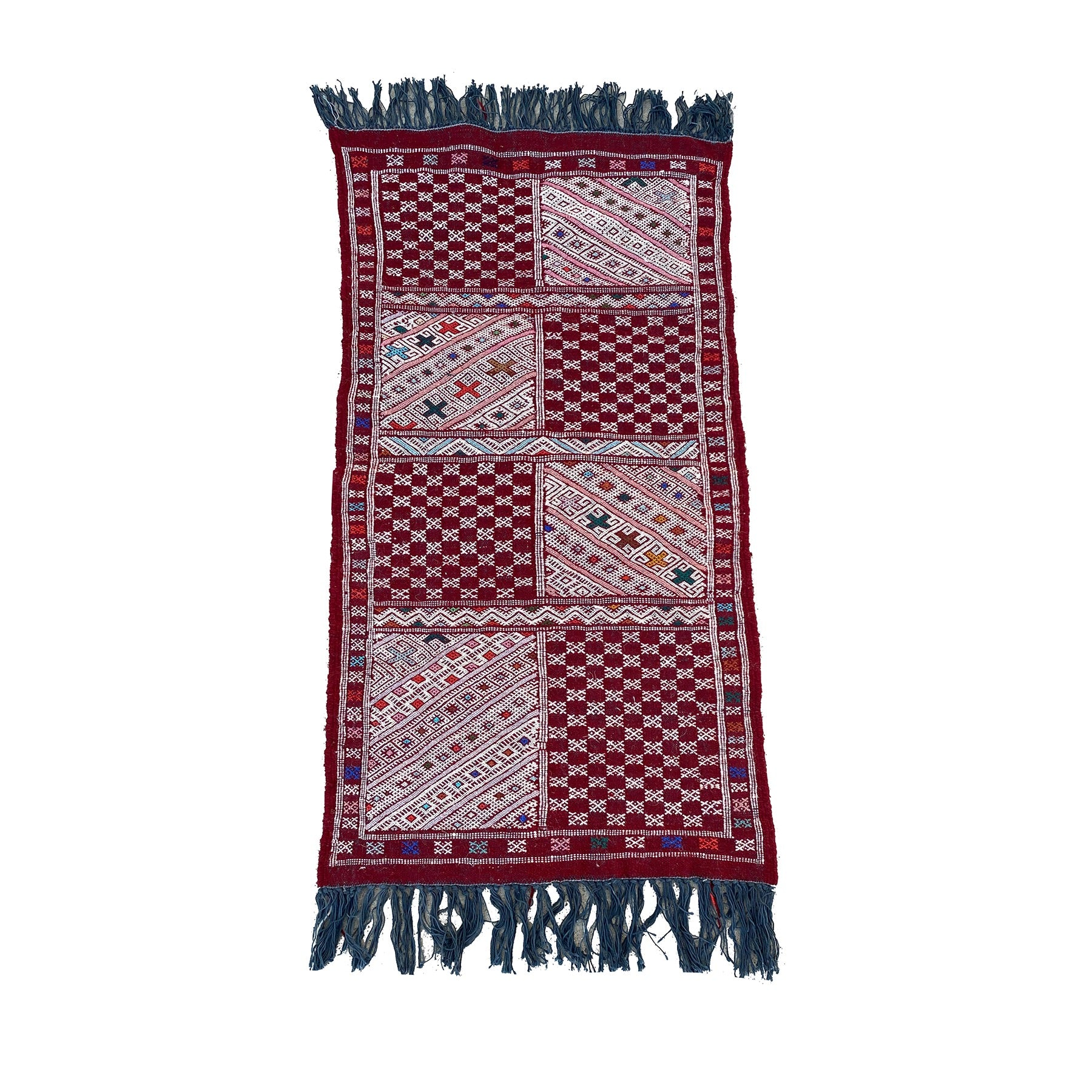 Small red and white Moroccan kilim throw rug - Kantara | Moroccan Rugs