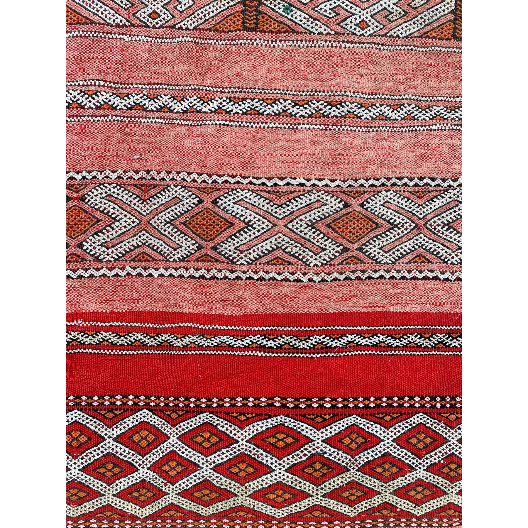 Faded red vintage Moroccan kilim rug with tribal pattern design - Kantara | Moroccan Rugs