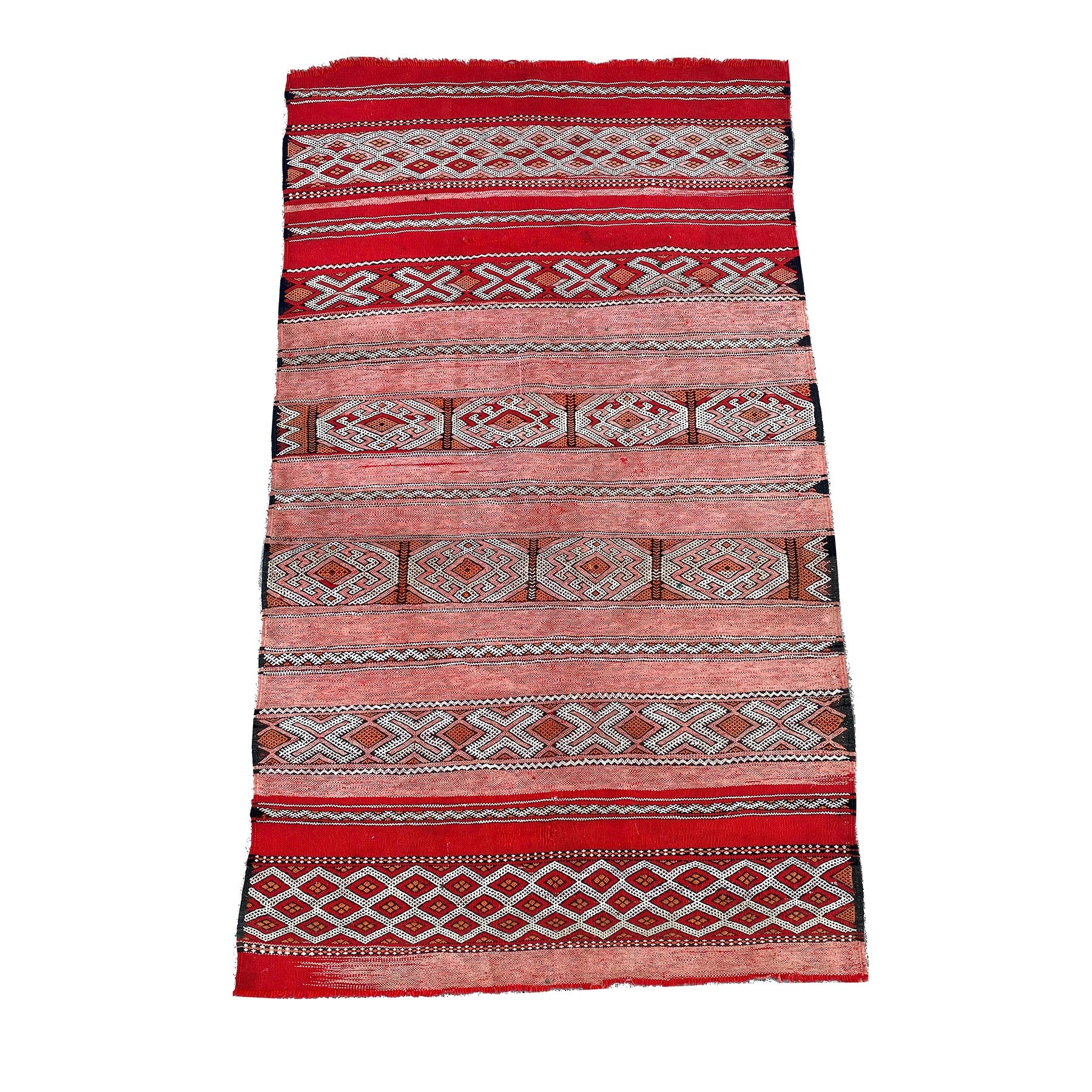 Red vintage Moroccan flatweave with tribal pattern - Kantara | Moroccan Rugs