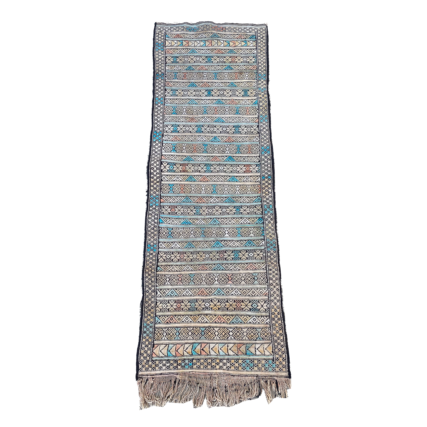 Moroccan flatweave kilim with blue, pink, and yellow details - Kantara | Moroccan Rugs