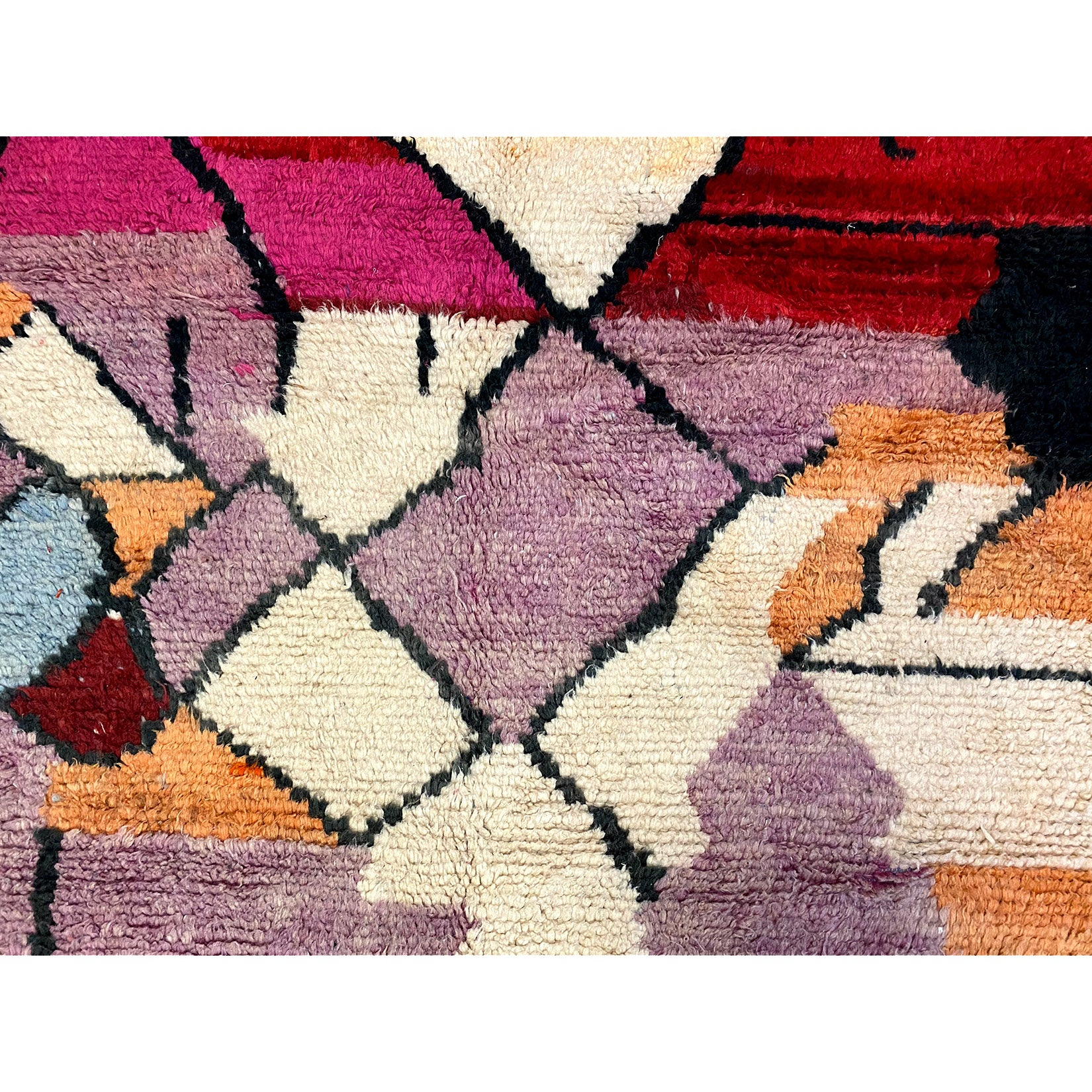 Contemporary boho chic Moroccan berber carpet in red and purple - Kantara | Moroccan Rugs