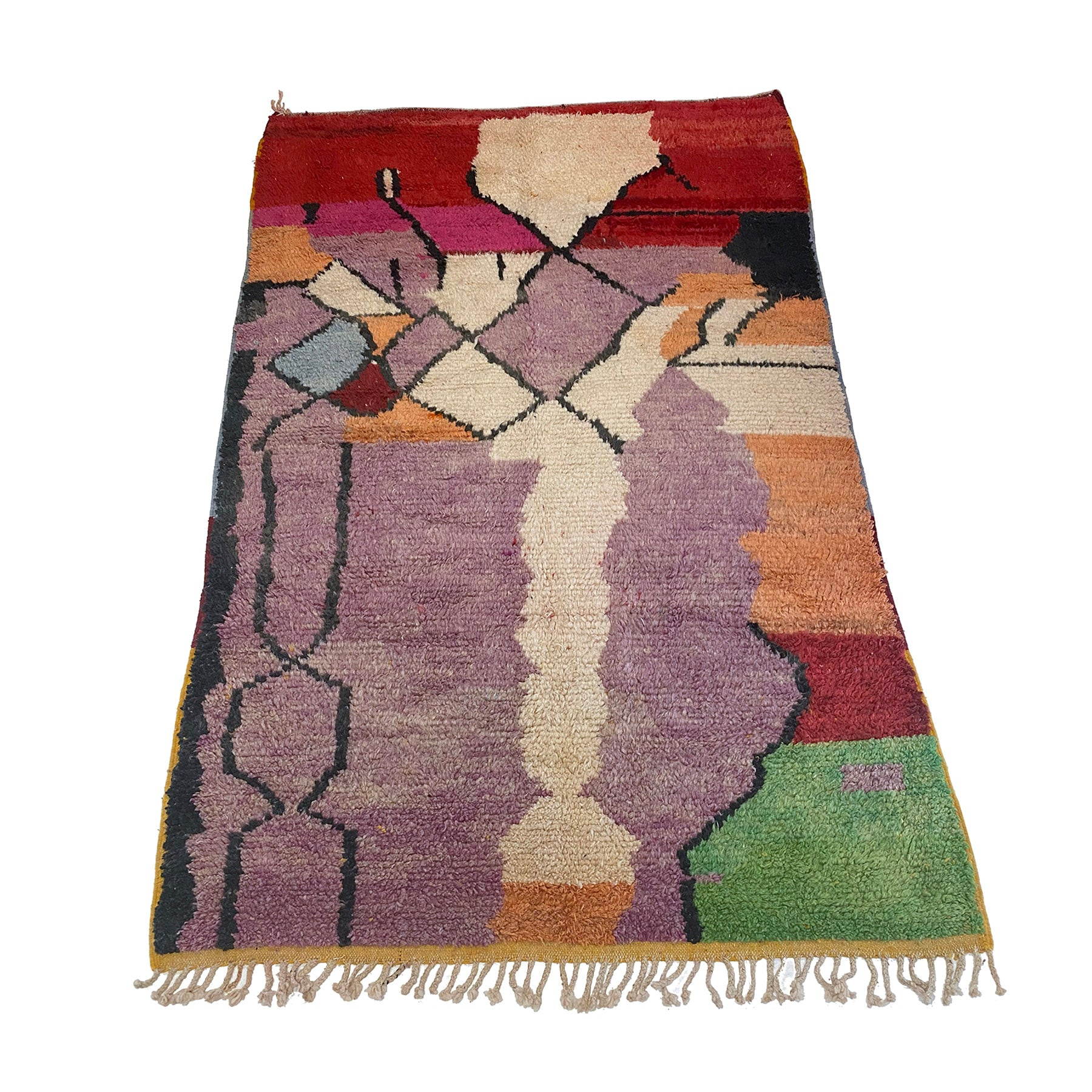 Purple and red Moroccan boujaad living room area rug - Kantara | Moroccan Rugs