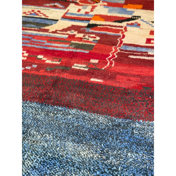 Red and blue Moroccan berber carpet with art deco pattern - Kantara | Moroccan Rugs
