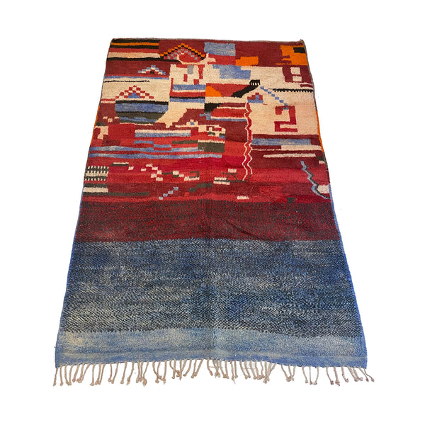 Blue and red Moroccan art deco living room area rug - Kantara | Moroccan Rugs