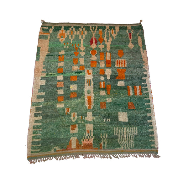 Vintage seafoam green art deco Moroccan rug with orange and white details - Kantara | Moroccan Rugs