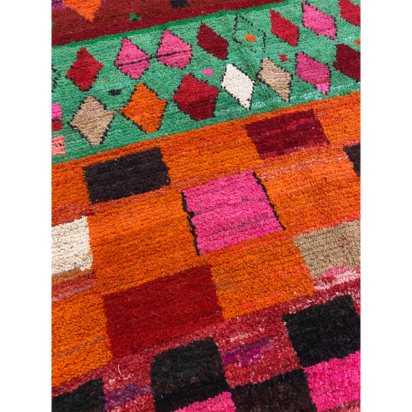 Multicolored handknotted wool berber carpet with art deco pattern - Kantara | Moroccan Rugs