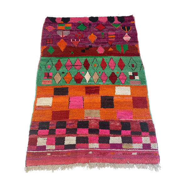 Colorful vibrant Moroccan playroom rug in pinks and purples - Kantara | Moroccan Rug