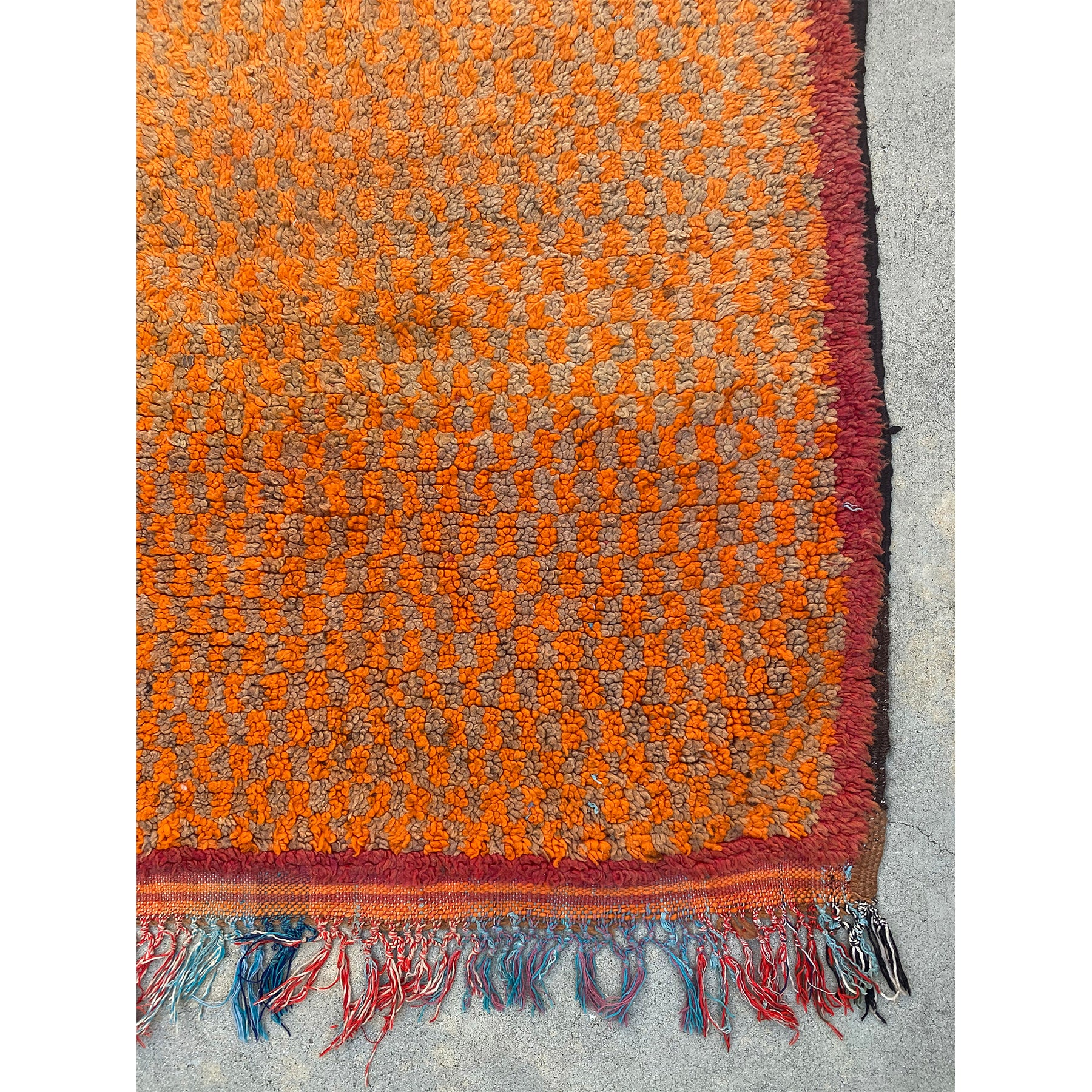 Medium sized orange Moroccan rug with red border - Kantara | Moroccan Rugs