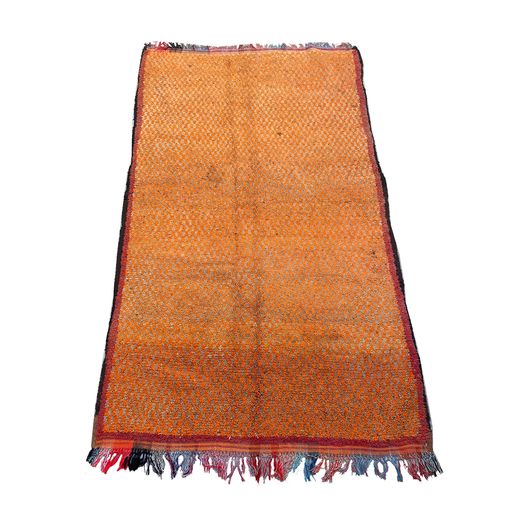 Vintage orange Moroccan entryway rug with checkerboard print - Kantara | Moroccan Rug