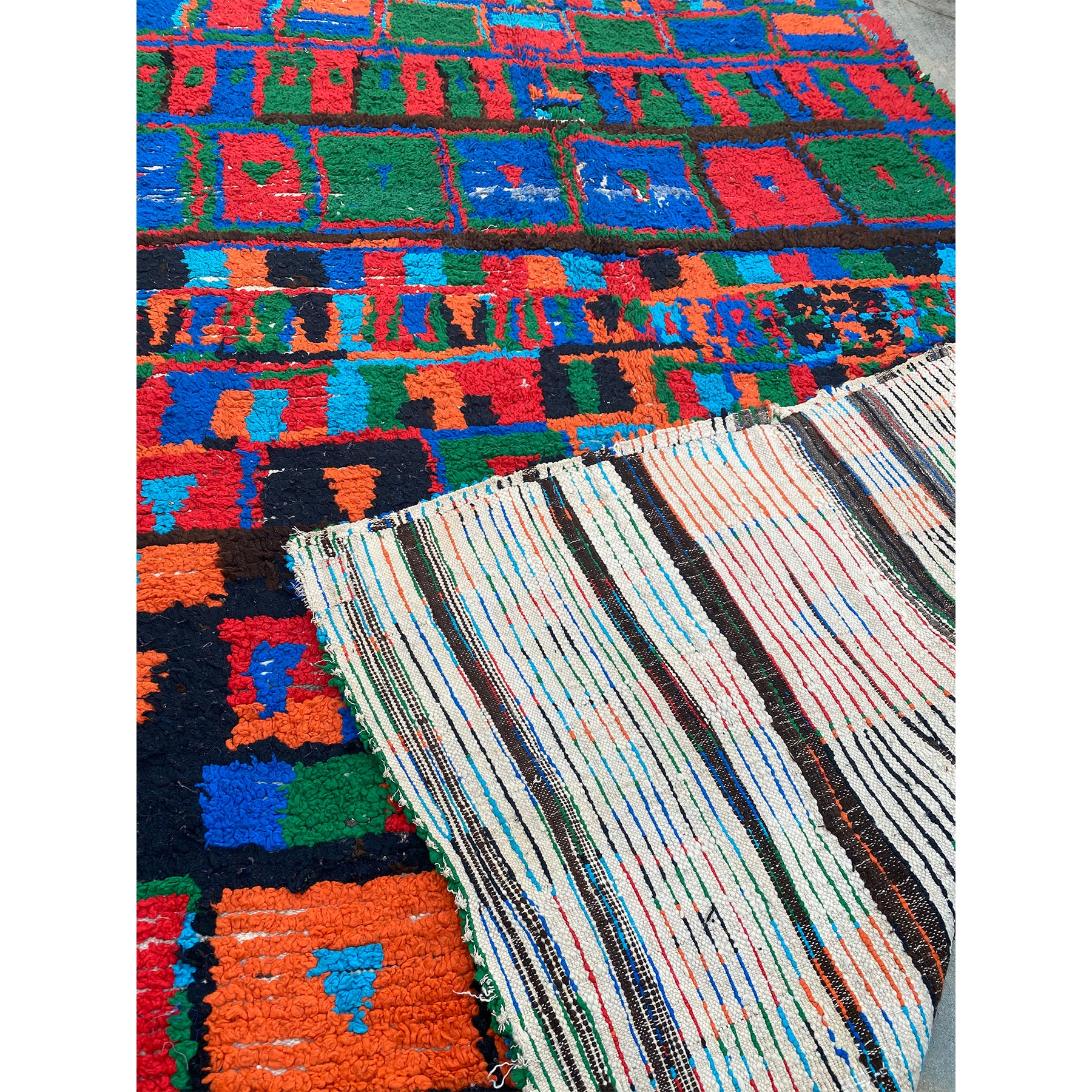 One of a kind vintage color block Moroccan berber carpet - Kantara | Moroccan Rugs
