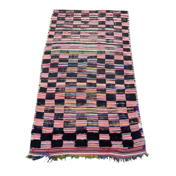 Pink and black Moroccan checkerboard rug - Kantara | Moroccan Rugs