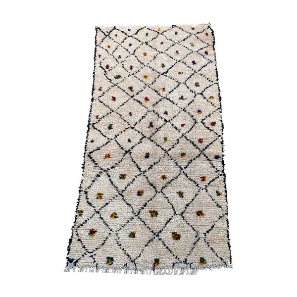 Hand woven white and black vintage Moroccan trellis rug - Kantara | Moroccan Rugs