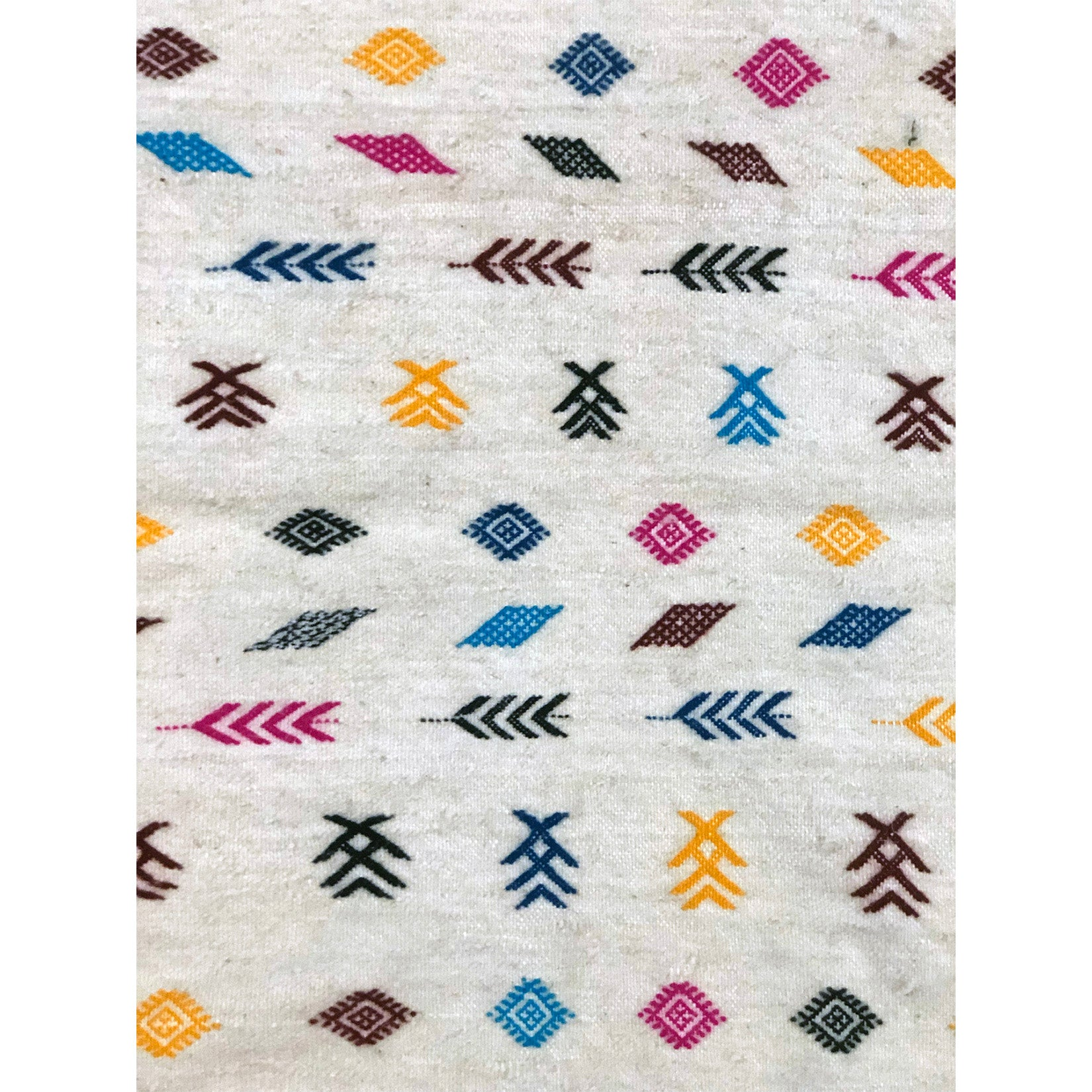 Tribal flat weave white berber carpet - Kantara | Moroccan Rugs