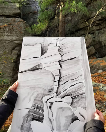 Painting by Claudia Pearson in upstate New York as study for Ebb + Flow line