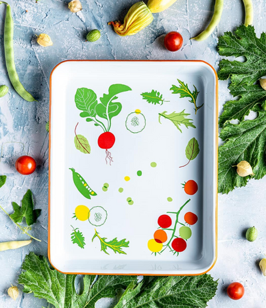 Enamelware from Claudia Pearson featuring vegetable illustrations