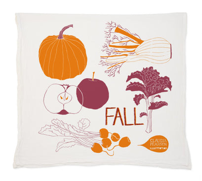 Fall colors tea towel from Claudia Pearson featuring squash and pumpkins