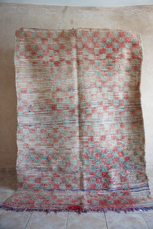 Large Moroccan rug with checkerboard pattern