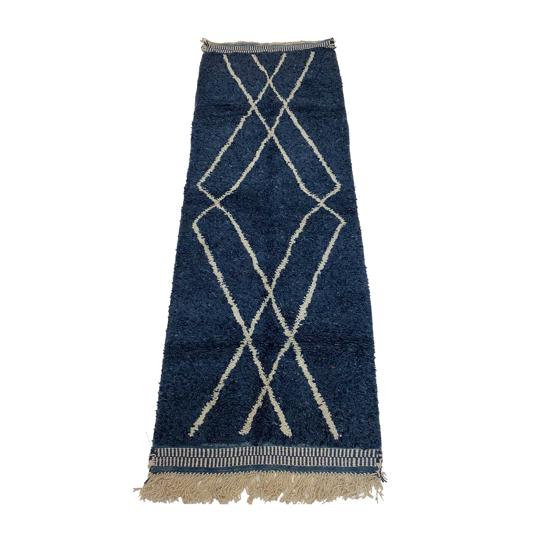 Navy blue Beni Ourain style Moroccan runner rug