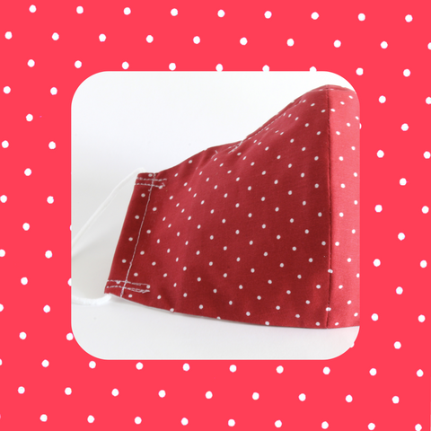 Clearance Mask - Red with White Polka Dots