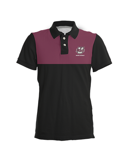 UMass Maroon Color Block Polo Shirt product image