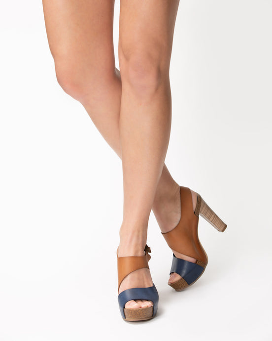 Dianne Wrapped Navy & Tan - European Heels