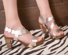 Load image into Gallery viewer, Scalloped Rose Gold Lower Heel - European Heels