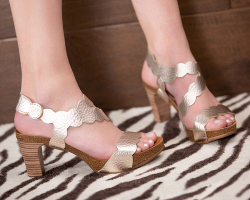 Scalloped Rose Gold Lower Heel - European Heels