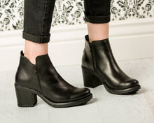 Load image into Gallery viewer, Black Ankle Boots - European Heels