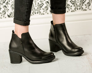 Black Ankle Boots - European Heels