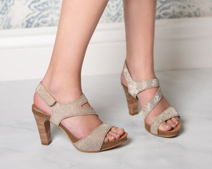Strappy Silver & Gold Shimmer - 2 Heel Heights - European Heels