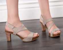 Load image into Gallery viewer, Strappy Silver & Gold Shimmer - 2 Heel Heights - European Heels
