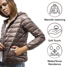 Load image into Gallery viewer, DASTI UltraLight Down Hooded Packable Jacket for Women, Beige