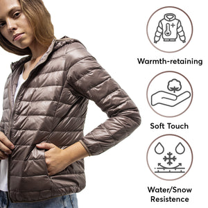 DASTI UltraLight Down Hooded Packable Jacket for Women, Beige