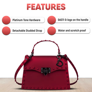 DASTI Studded Handbags for Women Medium, Red
