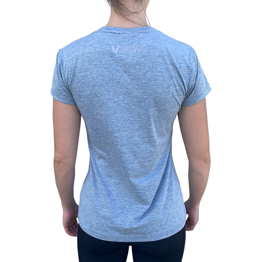Womens UV Performance Tech Tee- Heather Blue