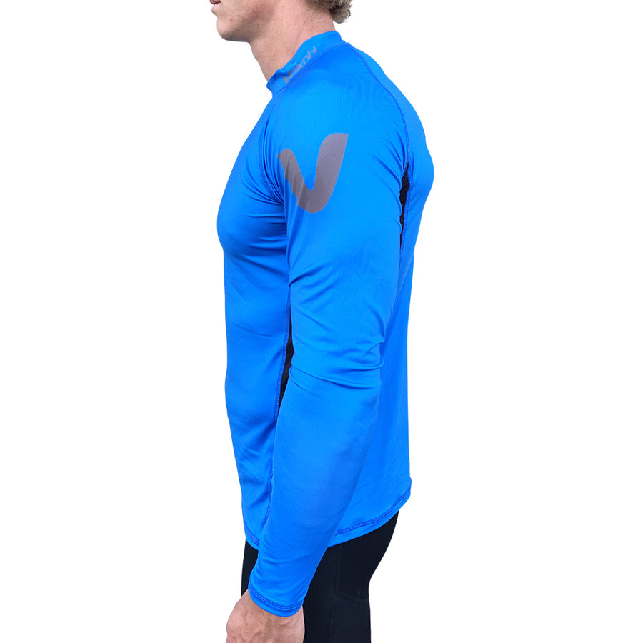Long Sleeve Rash Top - Cyan/Black
