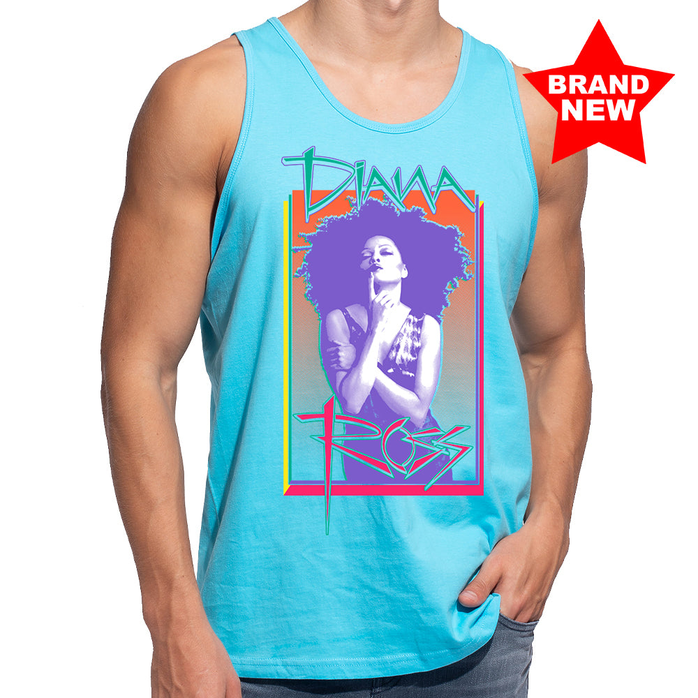 "Diana Ross ""Cover Page"" Unisex Tank in Pacific Blue"