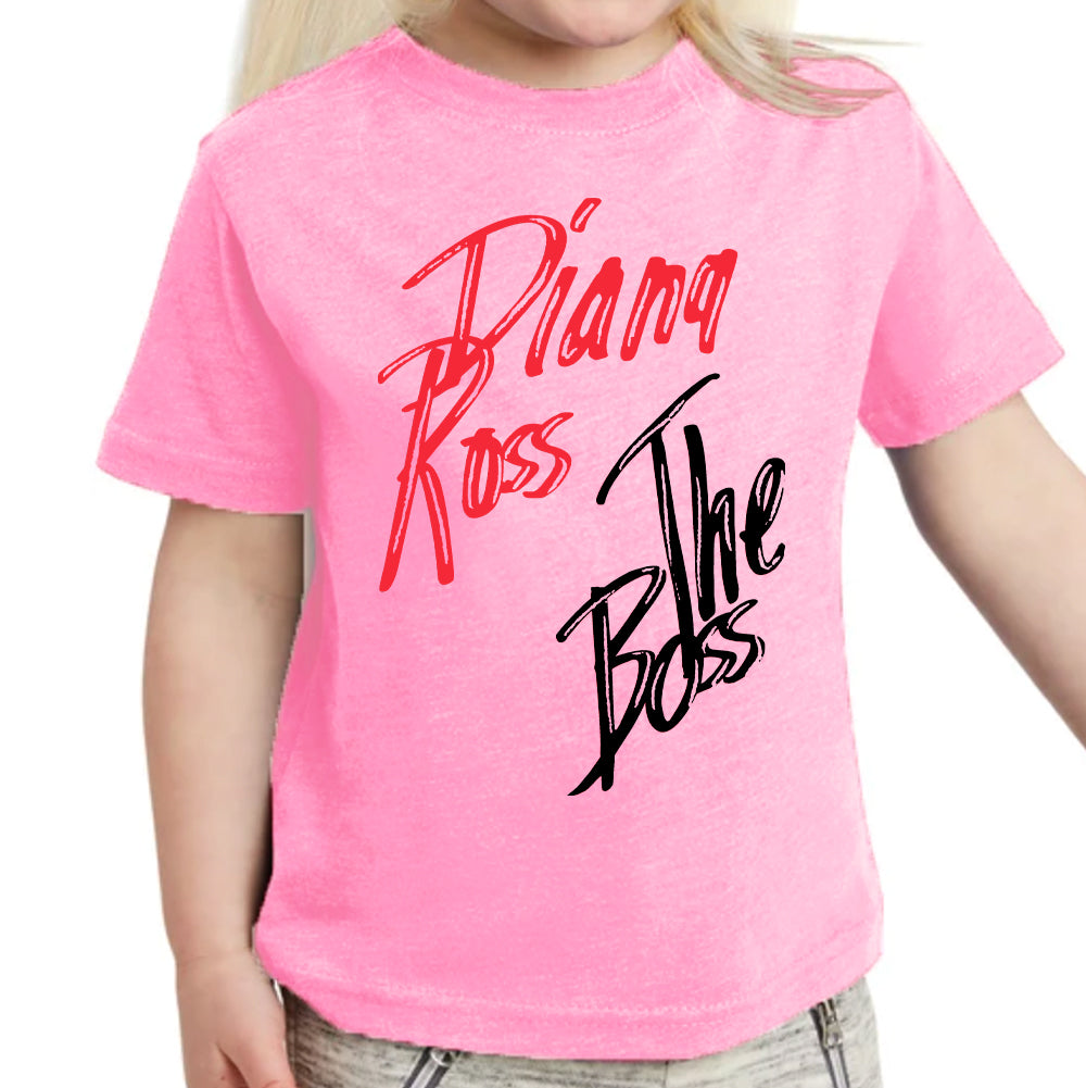 "Diana Ross ""The Boss"" Design Kids T-Shirt in Pink"