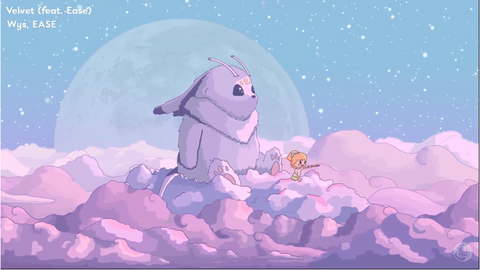 kawaii music - bunny flying through clouds. Click to listen to kawaii music