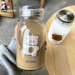 baby bear glass reusable water bottle coffee cup