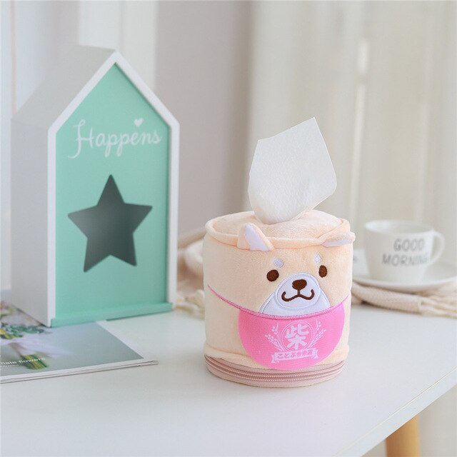 Kawaii Shiba Inu Home & Bathroom Plush Tissue Case Box the-kawaii-shoppu.myshopify.com 11cm-30cm / Cream yellow