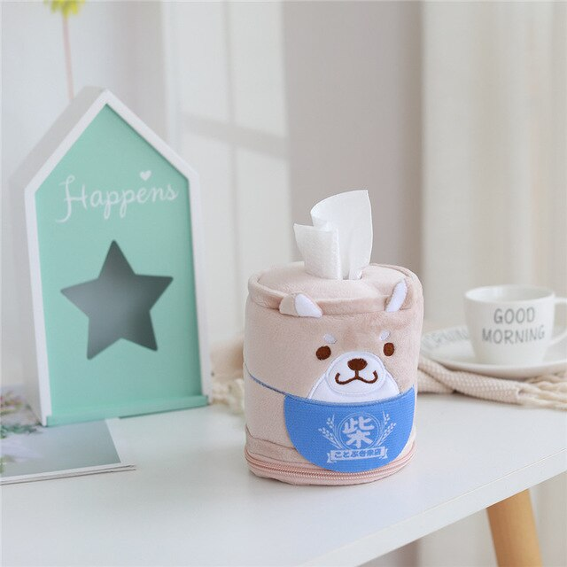 Kawaii Shiba Inu Home & Bathroom Plush Tissue Case Box the-kawaii-shoppu.myshopify.com 11cm-30cm / grey