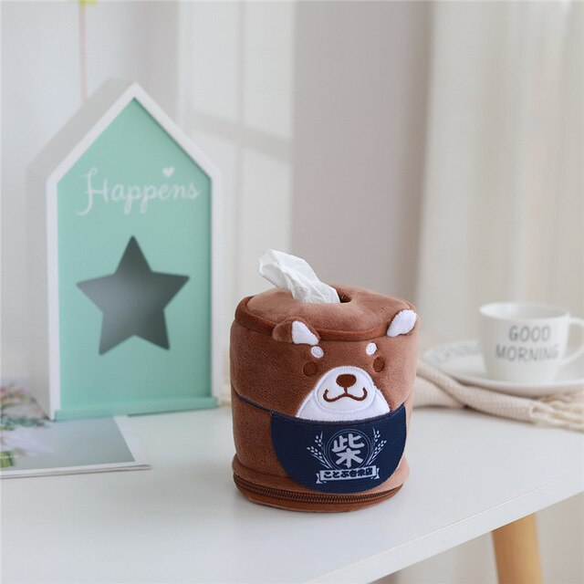 Kawaii Shiba Inu Home & Bathroom Plush Tissue Case Box the-kawaii-shoppu.myshopify.com 11cm-30cm / brown