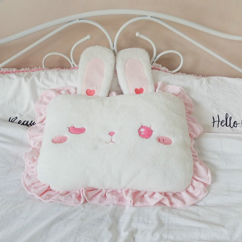 Shy Rabbit Candy Pillows the-kawaii-shoppu.myshopify.com 45X35cm / open eyes
