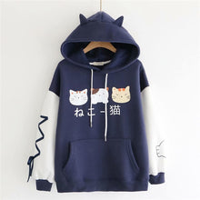 Load image into Gallery viewer, Tres Cat Kawaii Hoodie